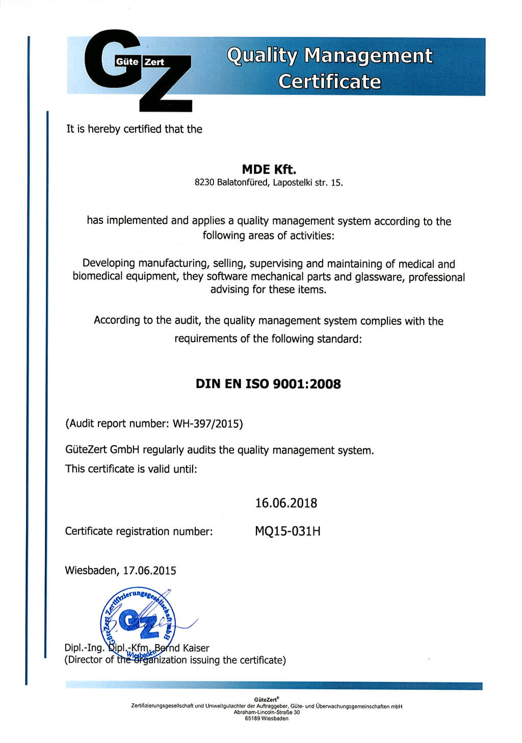 Quality management Certificate 16.06.2018